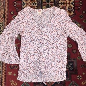 Mossimo Supply Co Floral Tie Up Flirty Blouse